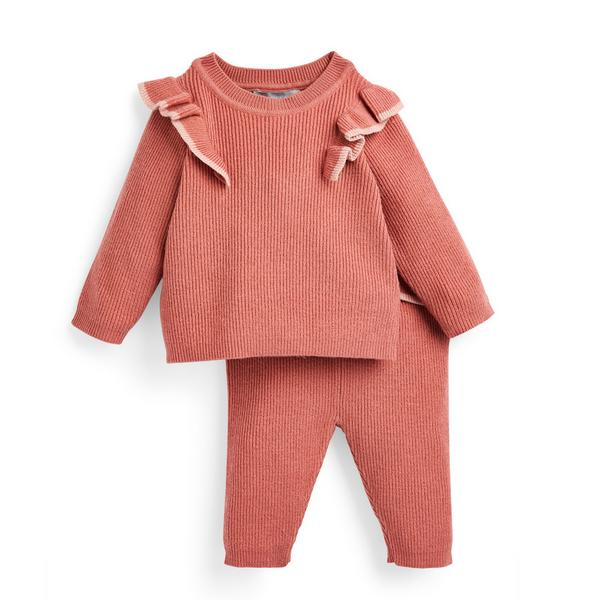 Baby Girl Coral Knit 2 Piece Set