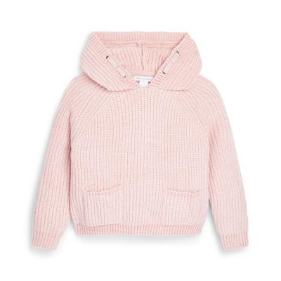 Younger Girl Pink Chenille Ribbed Hoodie