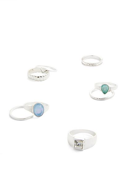 8-Pack Silvertone Muted Stone Rings