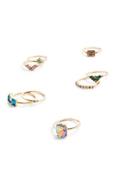8-Pack Goldtone Stacker Multi Stone Rings