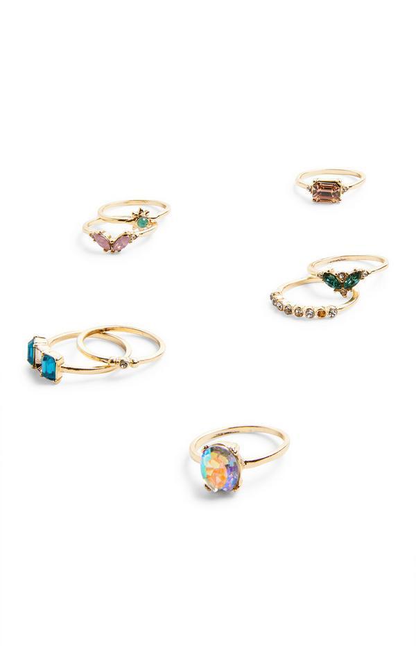 Goudkleurige ringen met gekleurde steentjes, set van 8