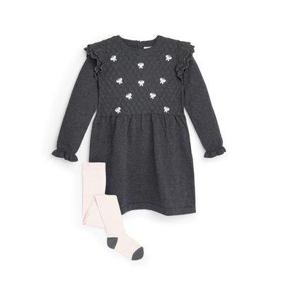 Younger Girl Grey Knitted Butterfly Dress
