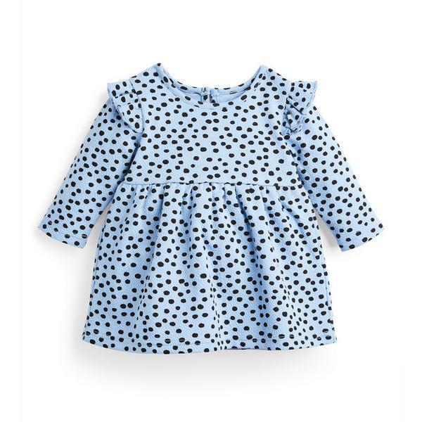 Baby Girl Blue Spot Print Textured Ponte Dress