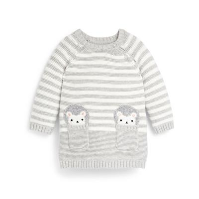 Baby Girl Grey Striped Hedgehog Pocket Jumper