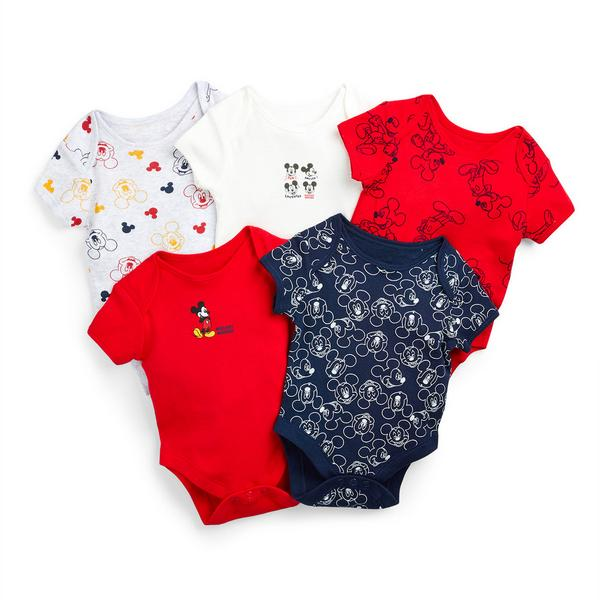 Newborn Baby Boy Disney Mickey Mouse Bodysuits 5 Pack