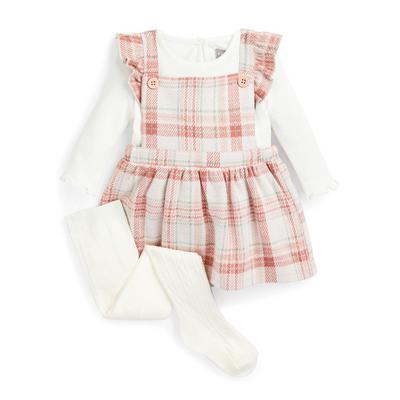 Ensemble 3 pièces avec robe chasuble rose poudré à carreaux bébé fille