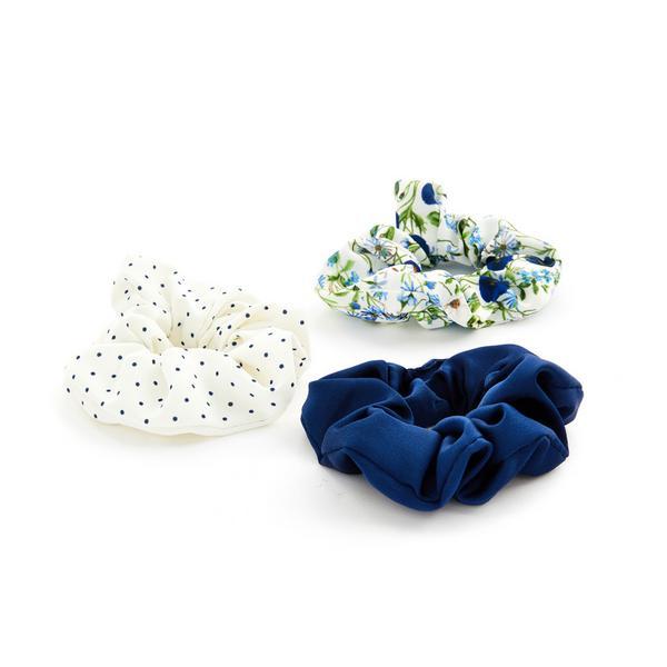 Haarwikkels Gardeners World met blauwe bloemenprint, set van 3