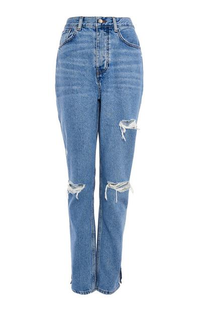 Blue Denim Ripped Dad Jeans