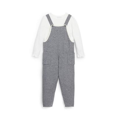 Younger Girl Grey Dungaree 2-In-1 Set