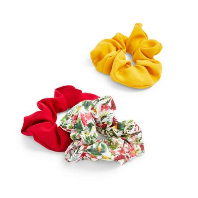 Red Floral Print Gardeners World Scrunchies 3 Pack