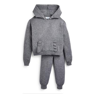 Younger Girl Grey Frill Knit Jogger Set 2 Piece
