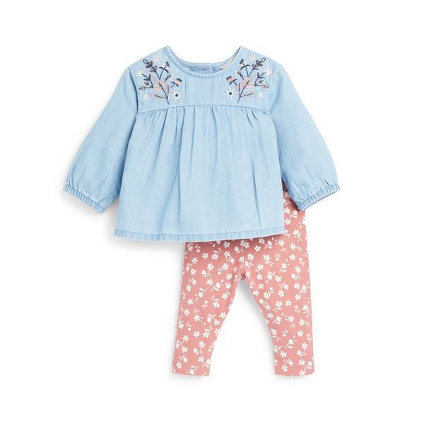 2-teiliges Set mit Jeansbluse und Leggings für Babys (M)