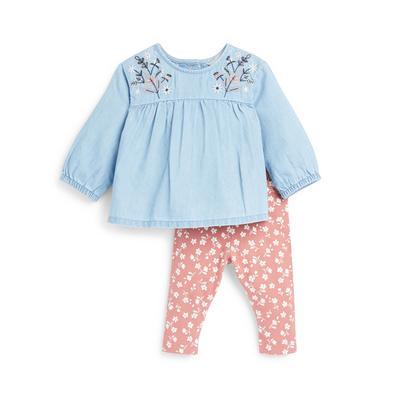 Ensemble 2 pièces avec chemisier en jean et legging bébé fille
