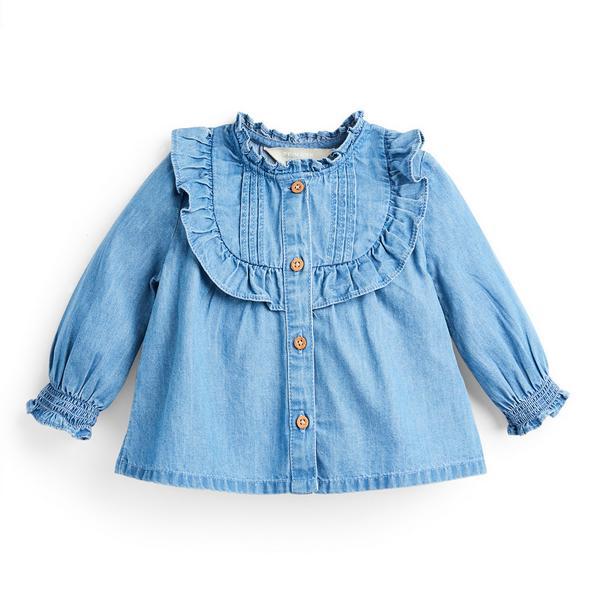 Camisa cambraia botões menina bebé