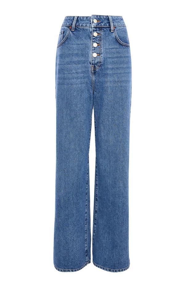 Blue Denim High Waist Button Up Wide Leg Jeans