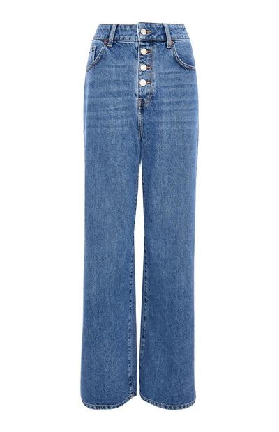 Blue Denim High Waist Button Up Wide Leg Jeans