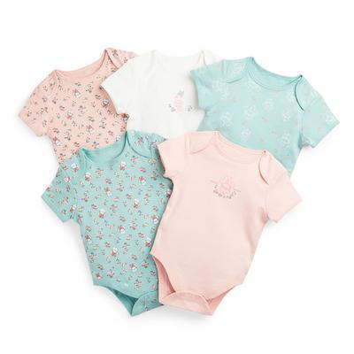 Newborn Baby Girl Disney Minnie Mouse Bodysuits 5 Pack