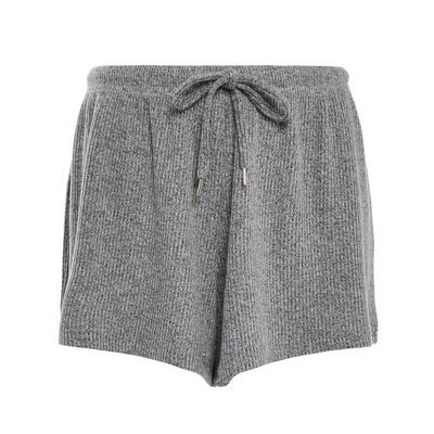 Gray Ribbed Supersoft Shorts