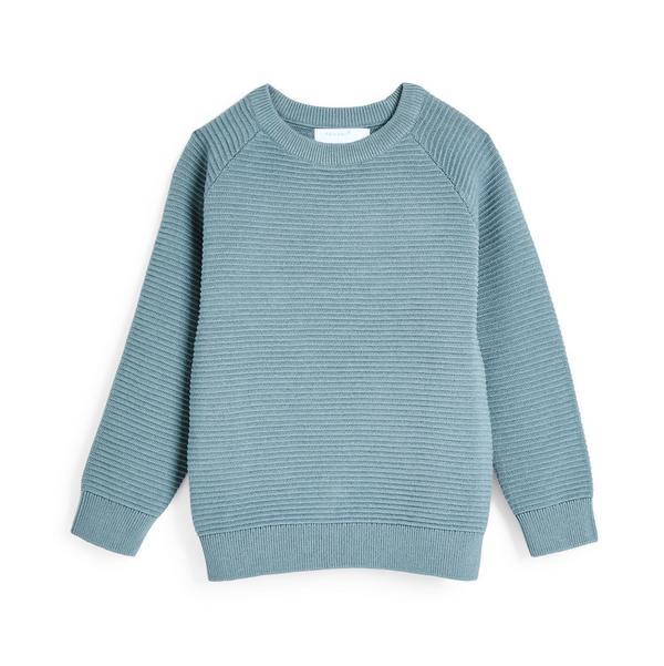 Blauwe gebreide sweater met ronde hals en textuur voor jongens