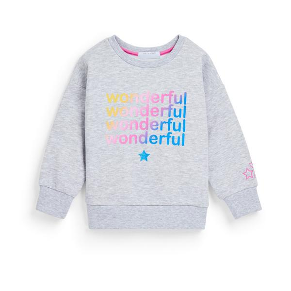 Younger Girl Gray Crew Neck Sweater