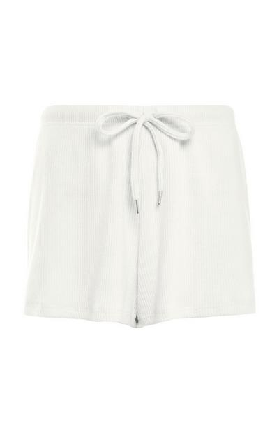 White Ribbed Supersoft Shorts