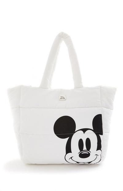 White Disney Mickey Mouse Nylon Puffa Shopper Bag