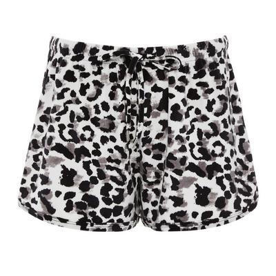Monochrome Leopard Print Minky Shorts