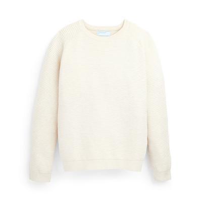Sweat-shirt ras du cou ivoire en maille texturée ado
