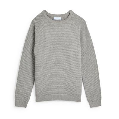 Sweat-shirt ras du cou gris en maille texturée ado