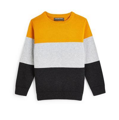 Sweat-shirt ras du cou en maille à motif color block garçon