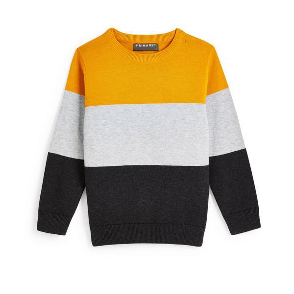 Gebreide sweater met ronde hals en kleurblokken voor jongens
