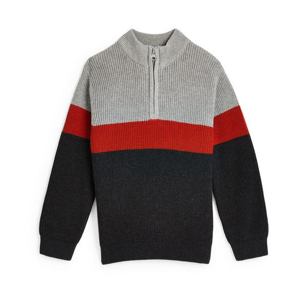 Younger Boy Colourblock Knit Zip Collar Sweater