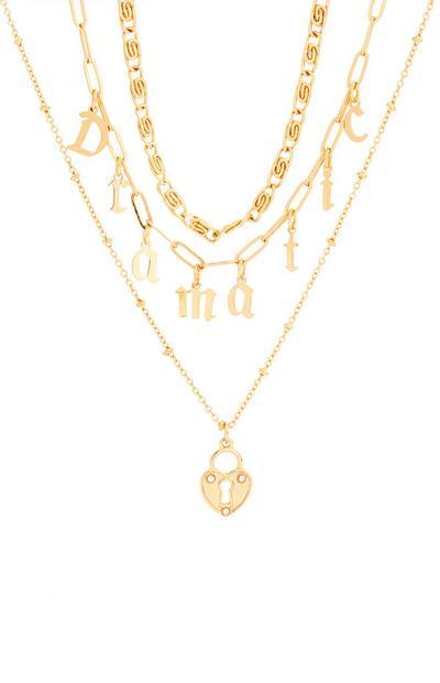Goldfarbene Halskette mit dramatischen Perlen