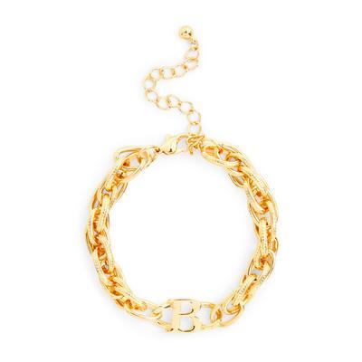 "Grobgliedriges goldfarbenes Armband mit Initiale ""B"""