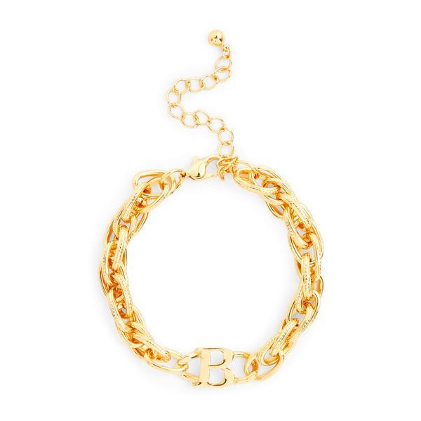 Robuuste goudkleurige schakelarmband met letter B