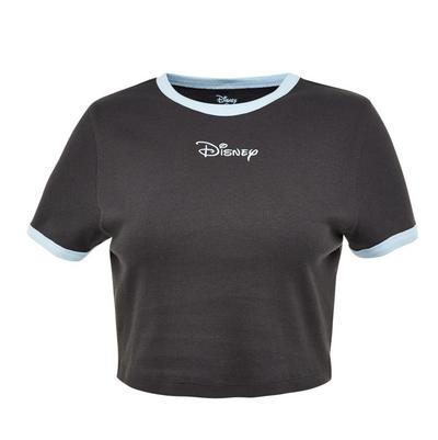 Black Disney Friends Ribbed Cropped Top