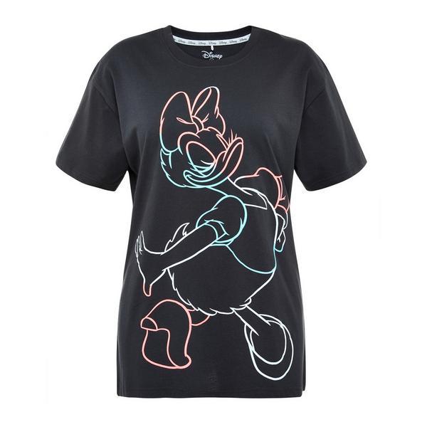 T-shirt nera con stampa fluo amici Disney