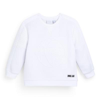 Witte sweater met ronde hals en geborduurde Space Jam-print voor jongens