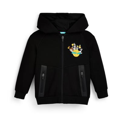 Zwarte Space Jam-hoodie met rits voor jongens