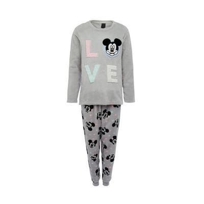 Grey Disney Mickey Mouse Sherpa Pyjamas Set