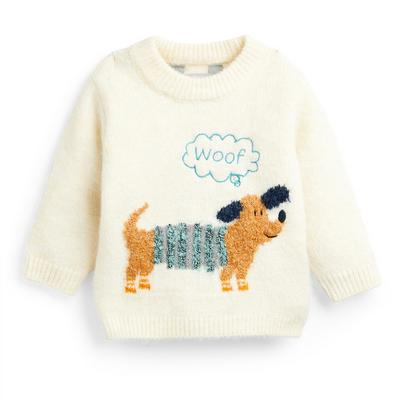 Baby Boy Ivory Knitted Dog Print Jumper