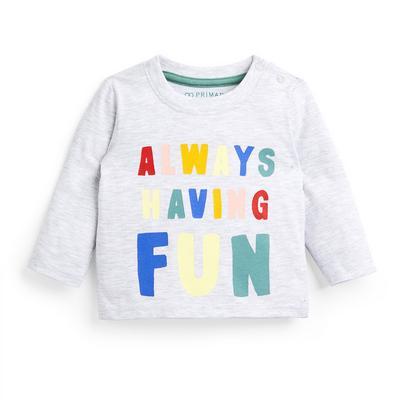 Baby Boy Grey Slogan Longsleeve T-Shirt