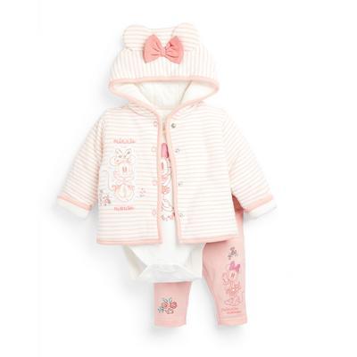 Newborn Baby Girl Disney Minnie Mouse Jacket Set 3 Piece