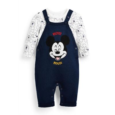 Conjunto 2 peças jardineiras Disney Mickey Mouse recém-nascido azul-marinho
