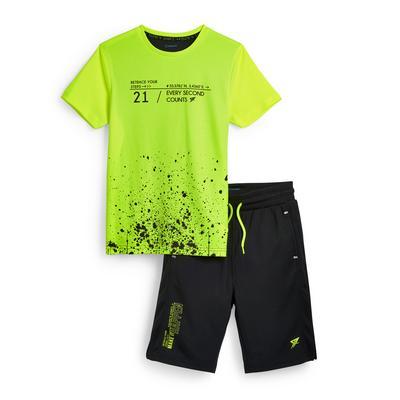 Tweedelige groene sportieve set voor jongens
