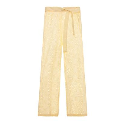 Yellow Broderie Tie Waist Trousers