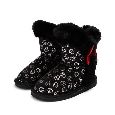 Younger Girl Black Disney Minnie Mouse Snug Boots