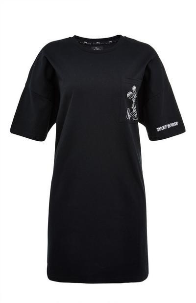 Zwarte T-shirtjurk Disney Mickey Mouse met paisleyprint