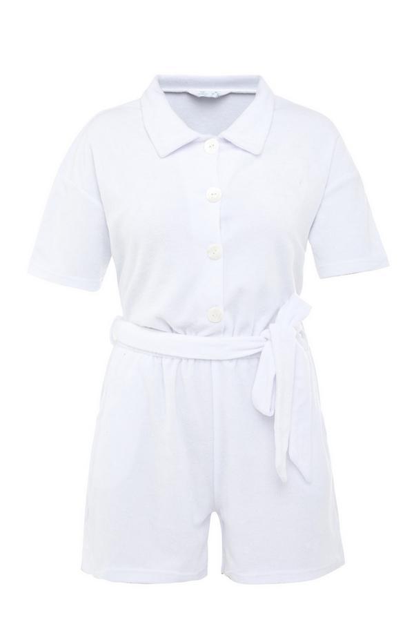Weißer Playsuit aus Frottee mit Taillenband