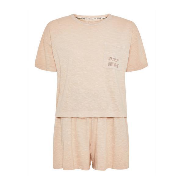 """Beiger, kurzer """"Earthcolors By Archroma"""" Pyjama aus Bio-Baumwolle"""